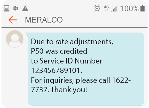 Meralco Prepaid Electricity Service Residential Rate Adjustments