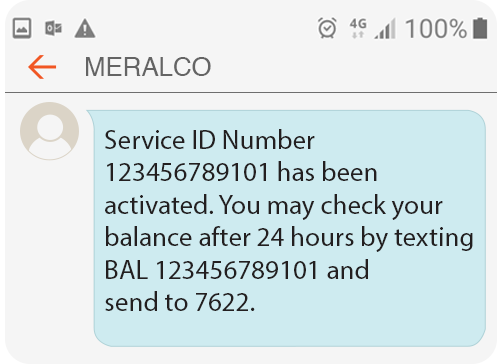Meralco Prepaid Electricity Service Residential Welcome Message